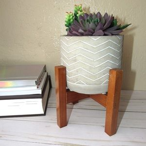 Artificial Succulents In Concert Pot With Stand.